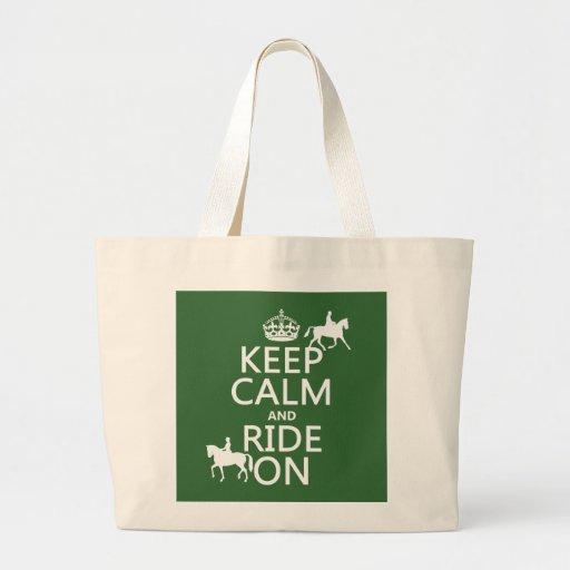 Guarde la calma y monte encendido - los caballos, bolsa tela grande