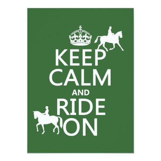 Guarde la calma y monte encendido - los caballos, invitaciones personales