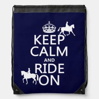 Guarde la calma y monte encendido - los caballos, mochilas