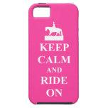 Guarde la calma y monte encendido, rosado iPhone 5 funda