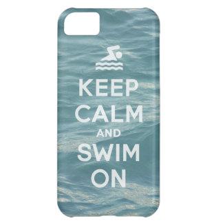 Guarde la calma y nade en el caso divertido iPhone Funda Para iPhone 5C