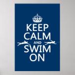 Guarde la calma y nade en (en cualquier color) poster