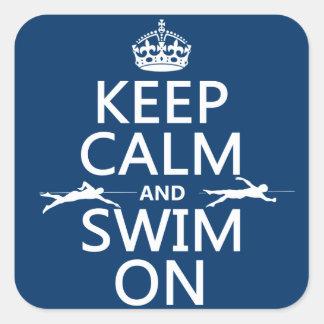 Guarde la calma y nade en (en cualquier color) pegatinas