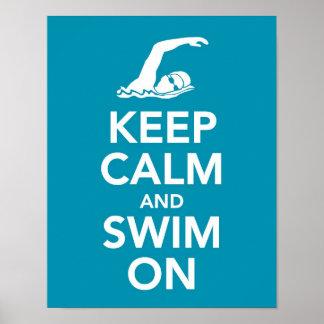 Guarde la calma y nade en la impresión impresiones