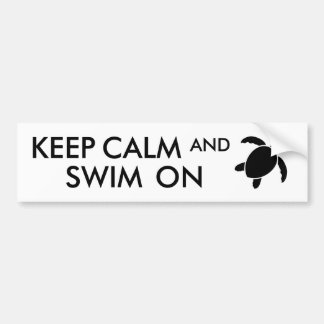 Guarde la calma y nade en personalizado de la pegatina para auto