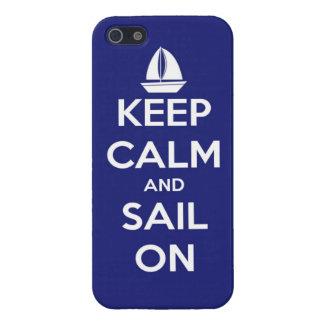 Guarde la calma y navegue en azul iPhone 5 carcasa