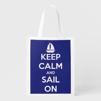 Guarde la calma y navegue en azul y el blanco bolsa para la compra
