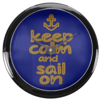 Guarde la calma y navegue en estilo del nudo de la relojes pecera
