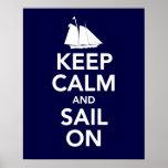 Guarde la calma y navegue en la impresión o el pos poster