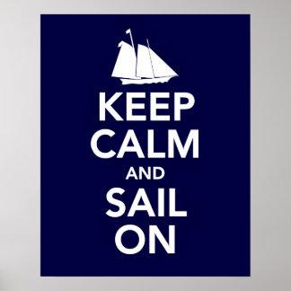 Guarde la calma y navegue en la impresión o el pos póster