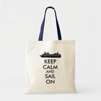Guarde la calma y navegue en personalizado del bolsa tela barata