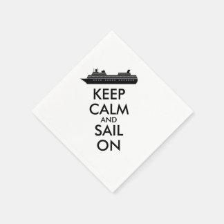 Guarde la calma y navegue en personalizado del servilletas desechables