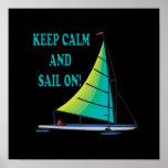 Guarde la calma y navegue encendido posters