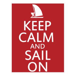 Guarde la calma y navegue encendido tarjetas postales