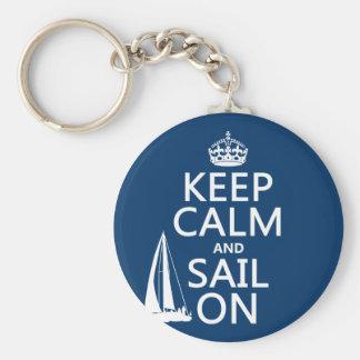 Guarde la calma y navegue encendido - todos los co llavero redondo tipo pin