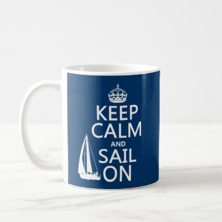 Guarde la calma y navegue encendido - todos los co taza básica blanca