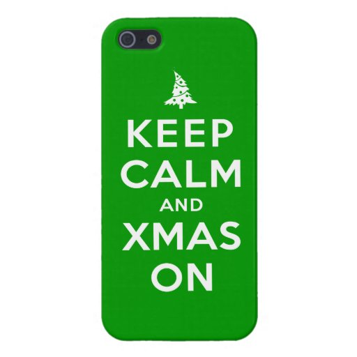 Guarde la calma y Navidad encendido iPhone 5 Carcasas