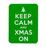 Guarde la calma y Navidad encendido Imanes Rectangulares