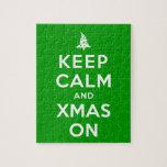 Guarde la calma y Navidad encendido Rompecabezas