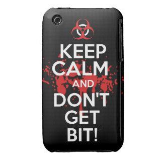 Guarde la calma y no consiga a zombis del zombi de iPhone 3 Case-Mate cárcasas