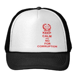 Guarde la calma y no para la corrupción gorros bordados