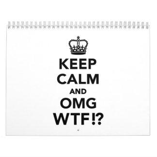 Guarde la calma y OMG WTF Calendario De Pared