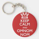 Guarde la calma y OmNom Nom Llavero Personalizado