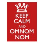 Guarde la calma y OmNom Nom Postales