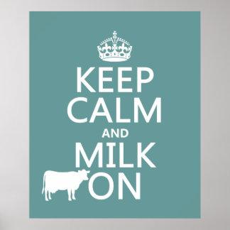 Guarde la calma y ordeñe en (las vacas) (en todos  póster