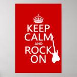 Guarde la calma y oscile en (guitarra) (cualquier  poster