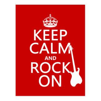 Guarde la calma y oscile en (guitarra) (cualquier  tarjeta postal