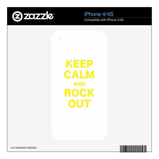 Guarde la calma y oscile hacia fuera iPhone 4 calcomanía