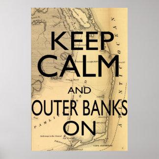 Guarde la calma y Outer Banks encendido Póster