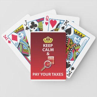 Guarde la calma y pague su vector de los impuestos cartas de juego