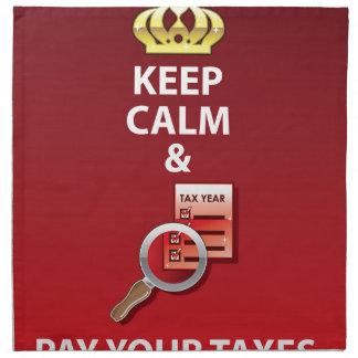 Guarde la calma y pague su vector de los impuestos servilletas imprimidas