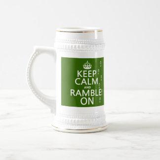 Guarde la calma y pasee en (cualquier color de fon jarra de cerveza