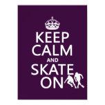 Guarde la calma y patine en (rollerskates) invitación