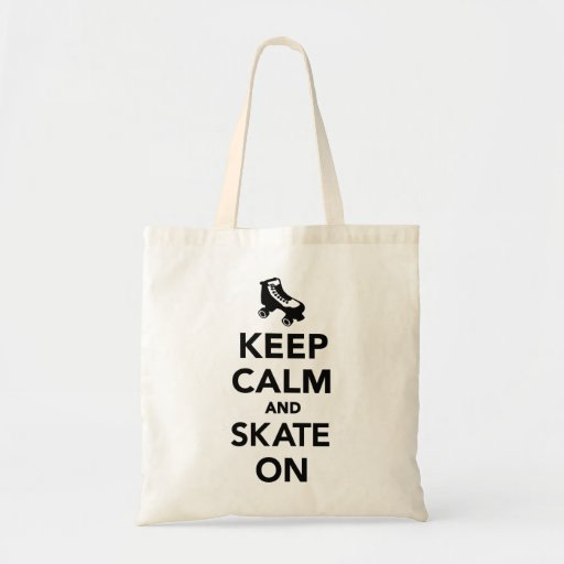 Guarde la calma y patine encendido bolsa de mano