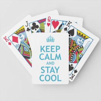 Guarde la calma y permanezca fresco barajas de cartas