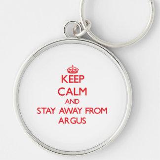 Guarde la calma y permanezca lejos de Argus Llavero Personalizado