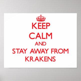 Guarde la calma y permanezca lejos de Krakens Póster