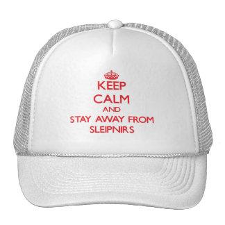 Guarde la calma y permanezca lejos de Sleipnirs Gorros Bordados