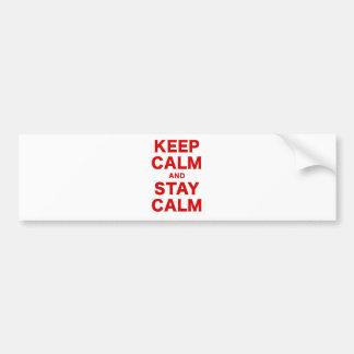 Guarde la calma y permanezca tranquilo pegatina para auto