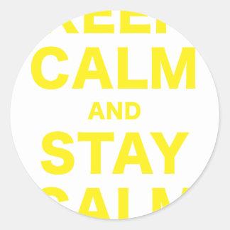 Guarde la calma y permanezca tranquilo pegatinas redondas