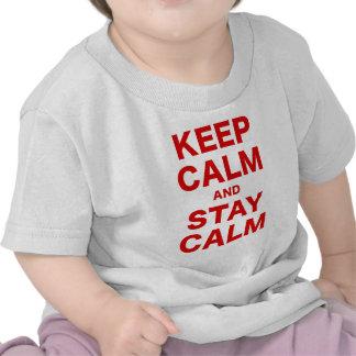 Guarde la calma y permanezca tranquilo camisetas