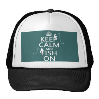 Guarde la calma y pesque encendido - los colores a gorras