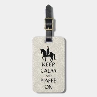 Guarde la calma y Piaffe en Dressage Etiqueta De Equipaje