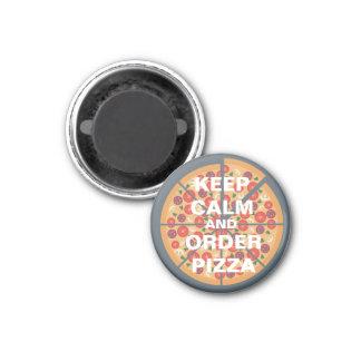 Guarde la calma y pida la pizza imán redondo 3 cm
