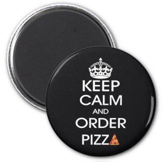 Guarde la calma y pida la pizza imán redondo 5 cm