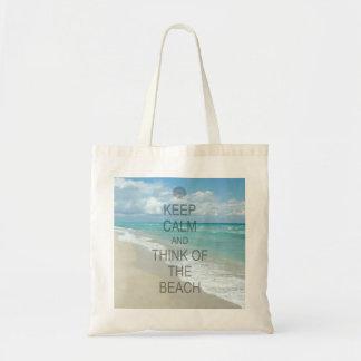 Guarde la calma y piense en la playa bolsa tela barata